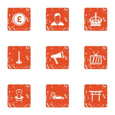 Royalty money icons set. Grunge set of 9 royalty money vector icons for web isolated on white background