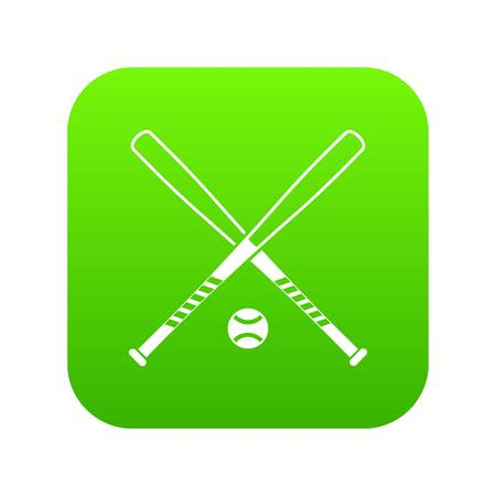 Crossed baseball bats and ball icon digital green for any design isolated on white vector illustration Illustration