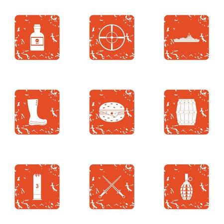 Warmonger icons set. Grunge set of 9 warmonger vector icons for web isolated on white background