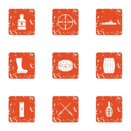 Warmonger icons set. Grunge set of 9 warmonger vector icons for web isolated on white background