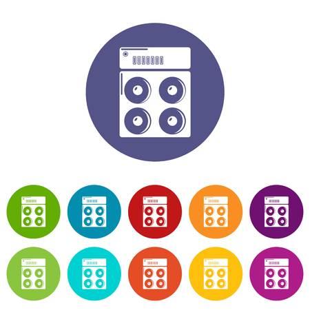 Speaker box icons color set vector for any web design on white background
