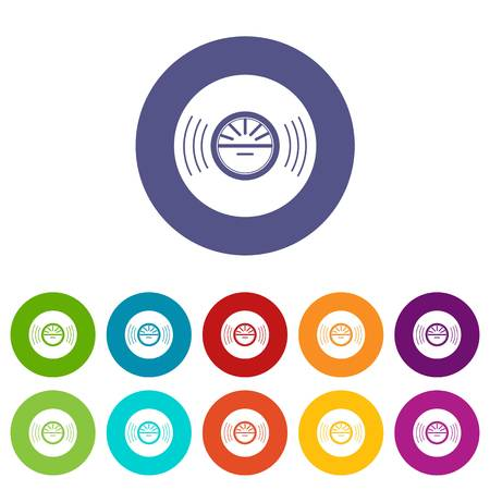Vinyl record icons color set vector for any web design on white background