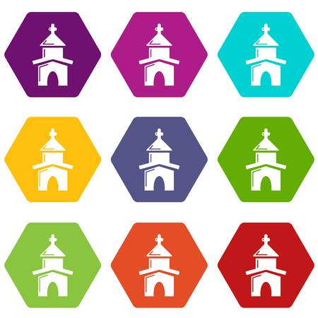 Church icons 9 set coloful isolated on white for web