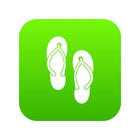 Beach thongs icon digital green for any design isolated on white vector illustration