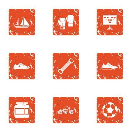 Street internship icons set. Grunge set of 9 street internship vector icons for web isolated on white background