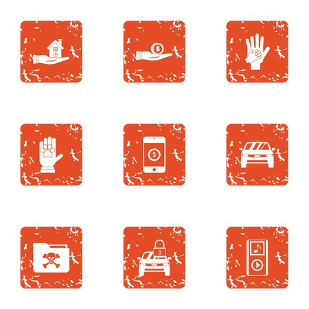 Foreman icons set. Grunge set of 9 foreman vector icons for web isolated on white background  イラスト・ベクター素材