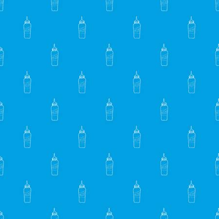 Bottle of cheese sauce pattern vector seamless blue repeat for any use