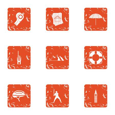 Crossroad icons set. Grunge set of 9 crossroad vector icons for web isolated on white background