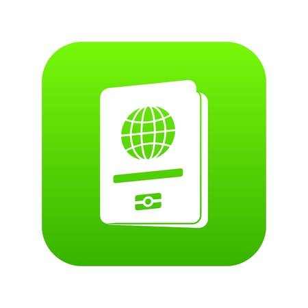 Passport icon digital green for any design isolated on white vector illustration