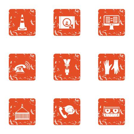 Storehouse icons set. Grunge set of 9 storehouse vector icons for web isolated on white background