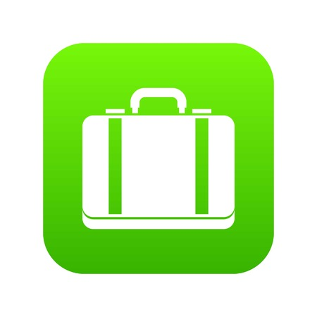 Suitcase icon digital green for any design isolated on white vector illustration