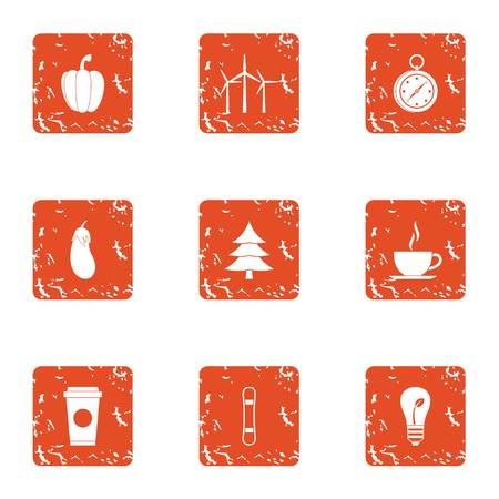 Softwood icons set. Grunge set of 9 softwood vector icons for web isolated on white background