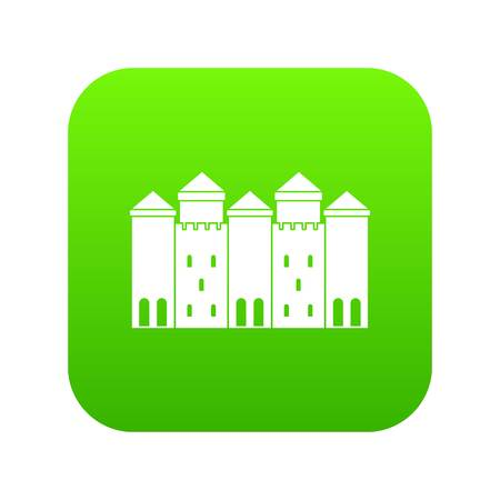 Old castle icon green vector isolated on white background Illustration