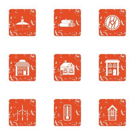 Raise the degree icons set. Grunge set of 9 raise the degree vector icons for web isolated on white background Ilustração