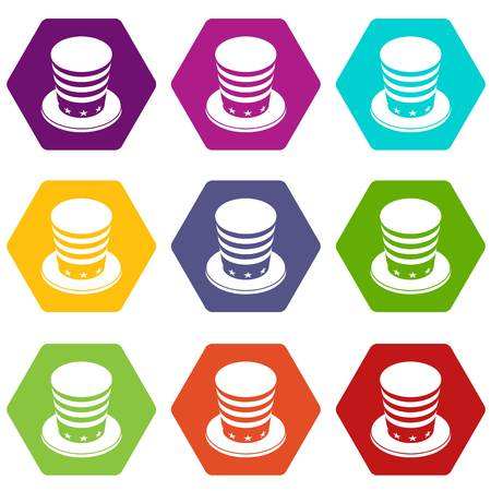 American conic hat icons 9 set coloful isolated on white for web Çizim