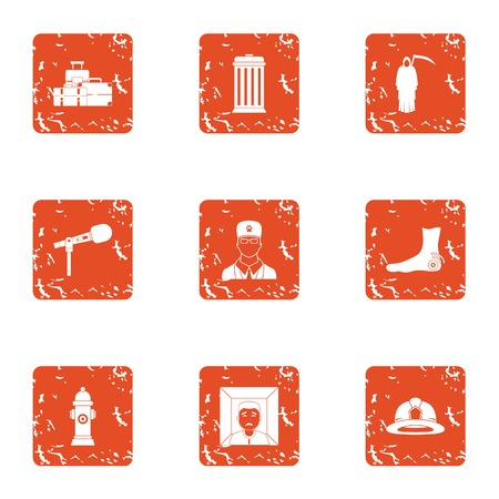 Conference icons set. Grunge set of 9 conference vector icons for web isolated on white background Illustration