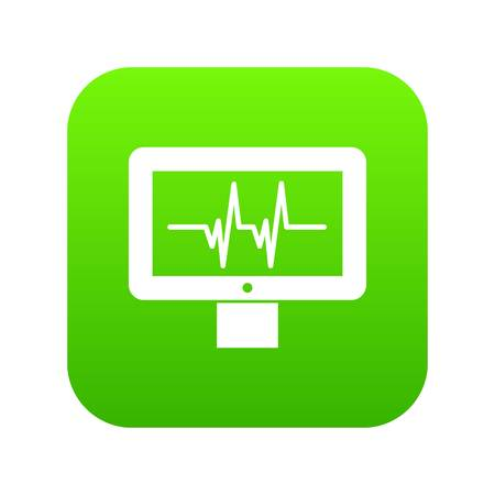 Electrocardiogram monitor icon digital green for any design isolated on white vector illustration