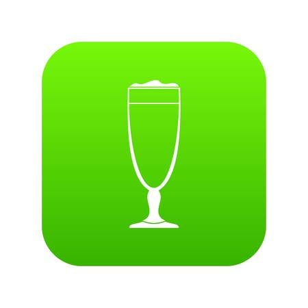 Wine glass icon green vector isolated on white background