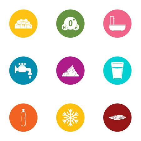 Water pipe icons set. Flat set of 9 water pipe vector icons for web isolated on white background