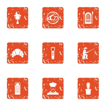 Cooking fish icons set. Grunge set of 9 cooking fish vector icons for web isolated on white background