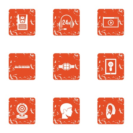 Online seek icons set. Grunge set of 9 online seek vector icons for web isolated on white background Illustration