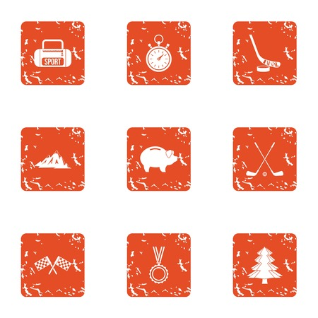Mountain path icons set. Grunge set of 9 mountain path vector icons for web isolated on white background