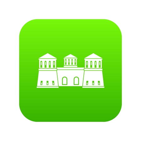 Castle icon green vector isolated on white background