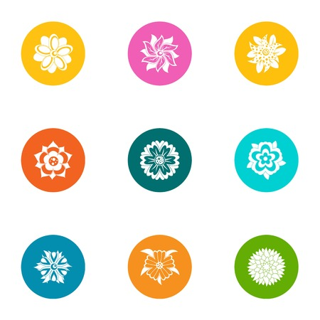 Bouquet icons set. Flat set of 9 bouquet vector icons for web isolated on white background