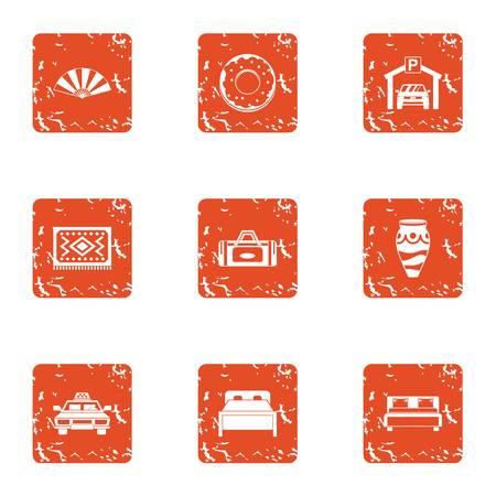 Bedroom suite icons set. Grunge set of 9 bedroom suite vector icons for web isolated on white background Ilustração Vetorial