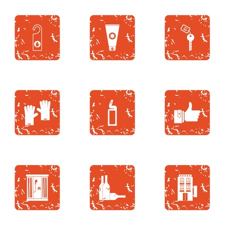 Tavern icons set. Grunge set of 9 tavern vector icons for web isolated on white background