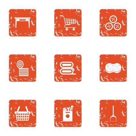Technical store icons set. Grunge set of 9 technical store vector icons for web isolated on white background Illustration