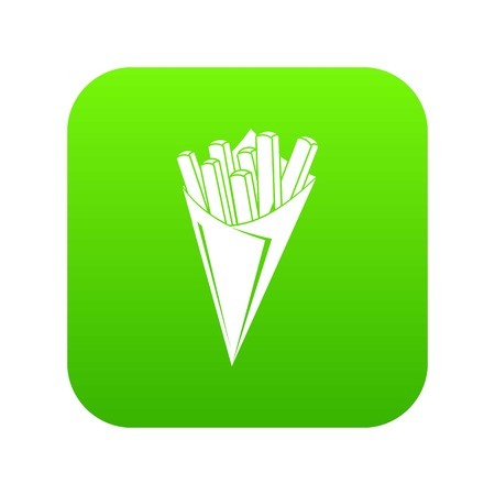 French fries icon green vector