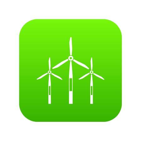 Wind generator turbines icon digital green