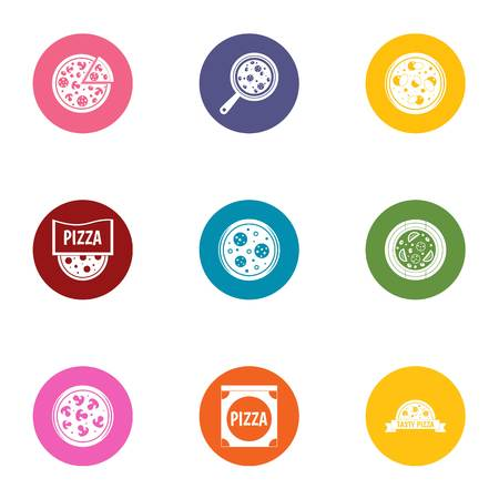 Pizza parlor icons set, flat style