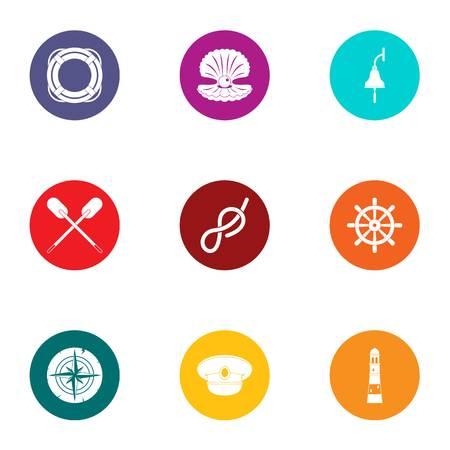 Subsea icons set, flat style
