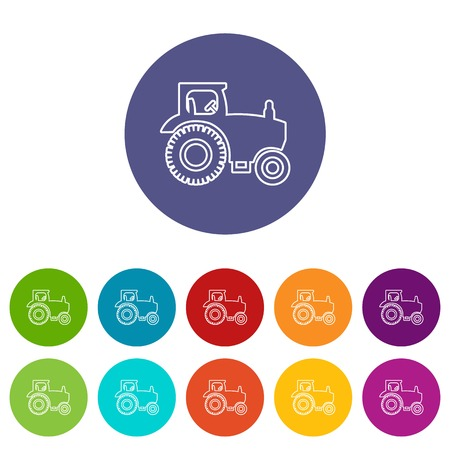 Tractor icons set vector color Illustration