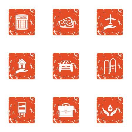 Benevolence icons set, grunge style