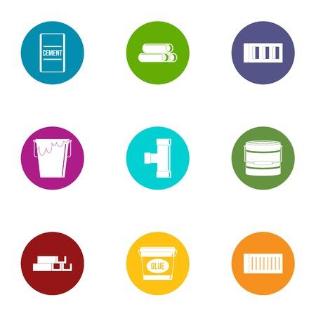 Adhesive icons set, flat style Illustration