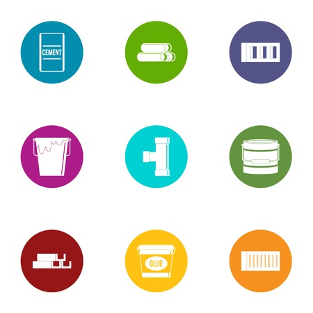 Adhesive icons set, flat style Foto de archivo - 103755385