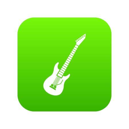Electric guitar icon digital green