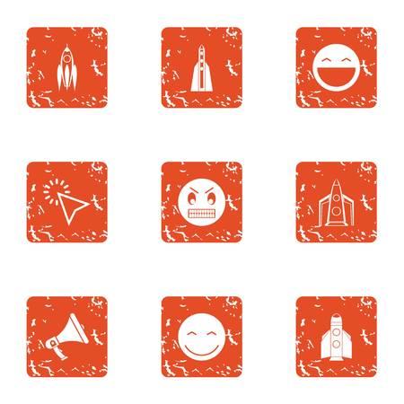 Children happiness icons set, grunge style Illustration