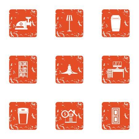 Home bathroom icons set, grunge style