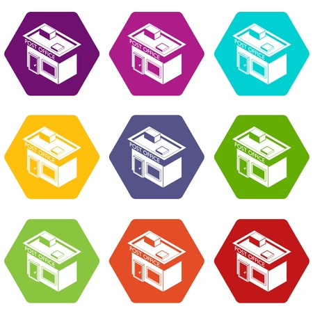 Post office icons set 9 vector
