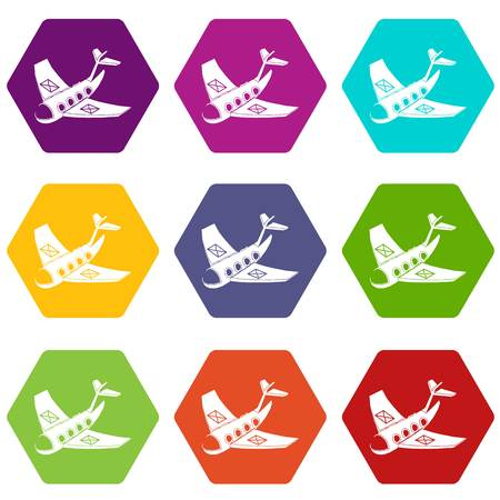 Air post delivery icons set 9 vector Stock Illustratie