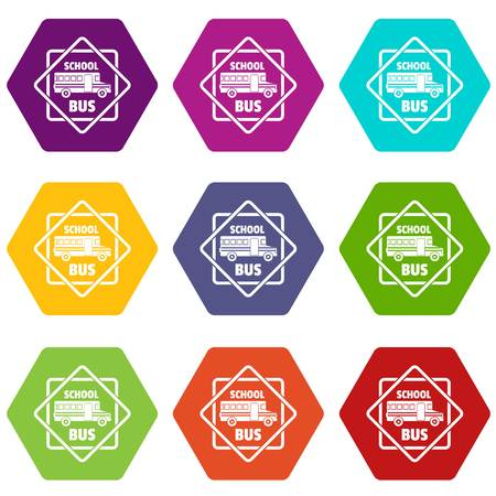 School bus icons set 9 vector