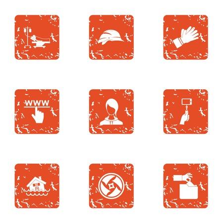 World wide web icons set, grunge style 向量圖像