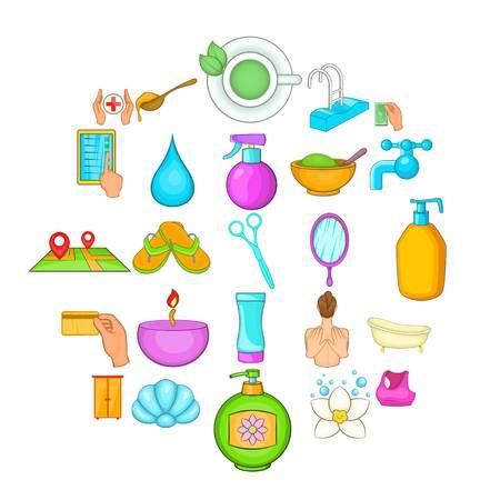 Cosmetic salon icons set, cartoon style