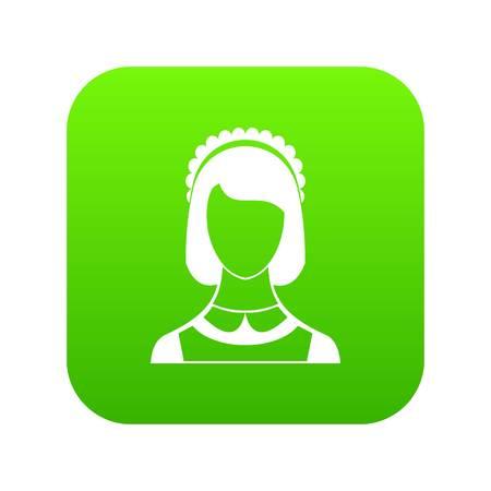 Maid icon digital green Illustration