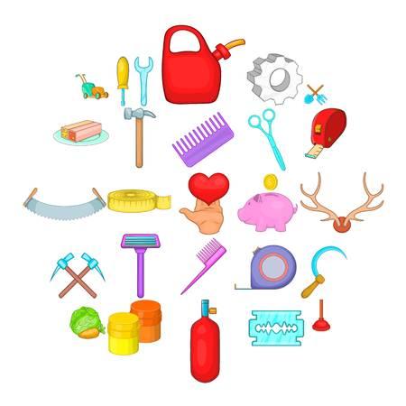Fabrication icons set, cartoon style  イラスト・ベクター素材