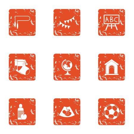Schoolhouse icons set, grunge style